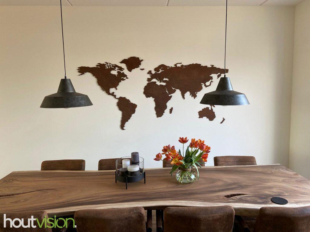 wereldkaart geroest cortenstaal staal