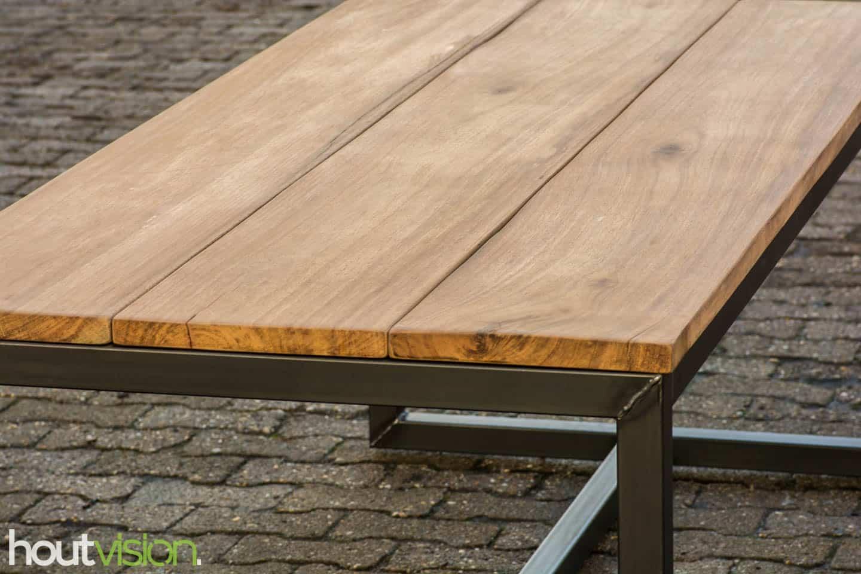 Meerpaal hardhout tafelblad staal basralocus