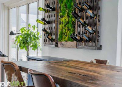 Houtvision-sloophout-maatwerk-mos-wand-schilderij-tuin-rendiermos-bolmos-meerpalen-meerpaal-tafel-eettafel-bartafel-groen-hart