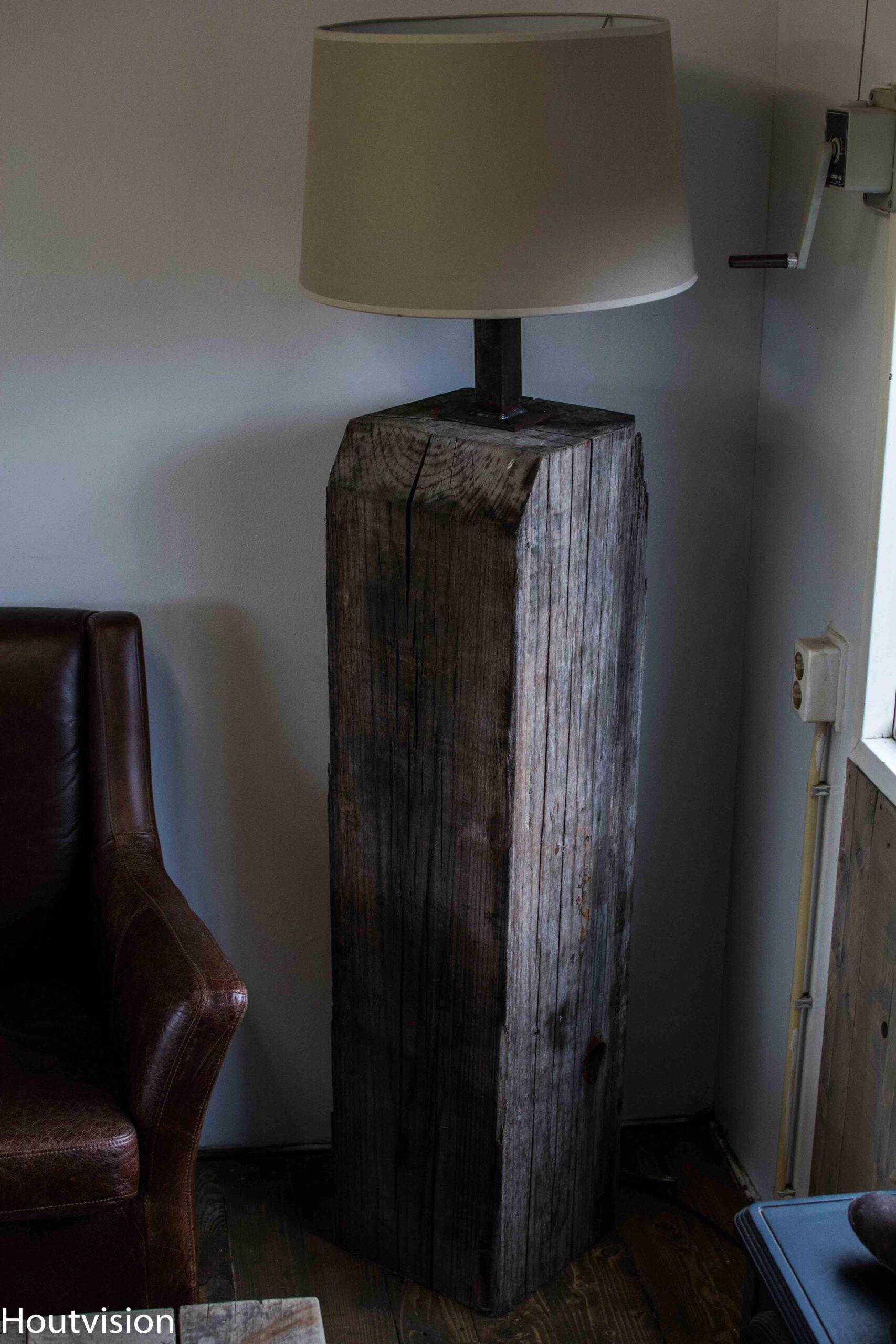 Lamp Meerpalen hout sokkel/pilaar/dukdalf/zuil